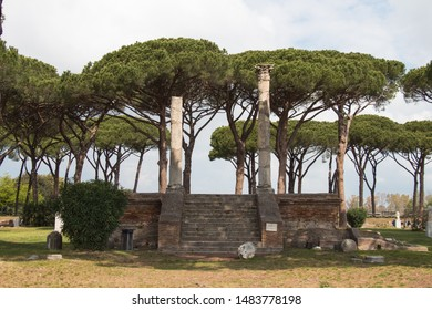 Italy, Ostia - April 16 2017: the view of Temple Of Ceres in The Ancient Roman Port of Ostia Antica on April 16 2017, Lazio, Italy.