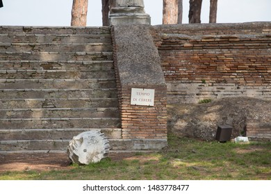 Italy, Ostia - April 16 2017: the view of stairs at Temple Of Ceres in The Ancient Roman Port of Ostia Antica on April 16 2017, Lazio, Italy.