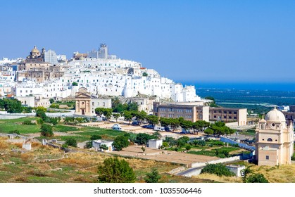 Italy, Ostuni, panoramic view of the white village