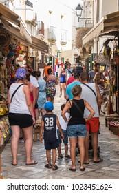 ITALY, OTRANTO - CIRCA JUN 2017: Classic cityscape of architecture during a tour of old center of Otranto, Puglia, Italy