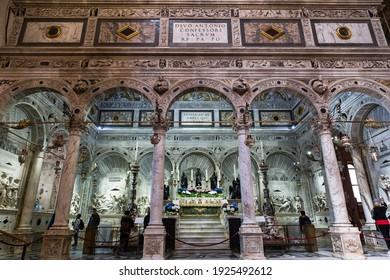 ITALY, PADUA - APRIL 20, 2017:Interior of the Basilica of St. Anthony. Capella of the ark of St. Anthony. Padua, Italy