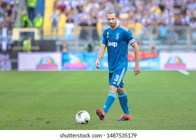 Italy, Parma, august 24 2019: Giorgio Chiellini, Juventus defender, dribbles in frontcourt in first half during football match PARMA vs JUVENTUS, Italy League Serie A 2019/2020 day1, Tardini stadium