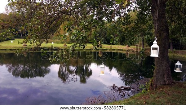 Italy, Pavia: Park with reflection in the pond.