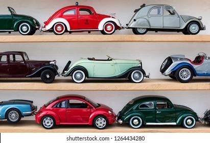 Italy, Perugia, Pissignano - 02 December 2018: flea market, collectible model cars