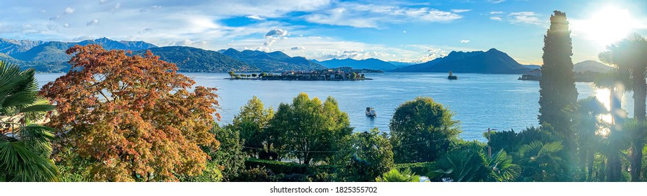 Italy, Piemonte, verbano-cusio-ossola province. Lago Maggiore, Baveno: panoramic landscape on the lake and the borromean islands at early morning