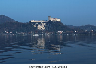 Italy, Piemonte: View of Angera fortress from Arona.