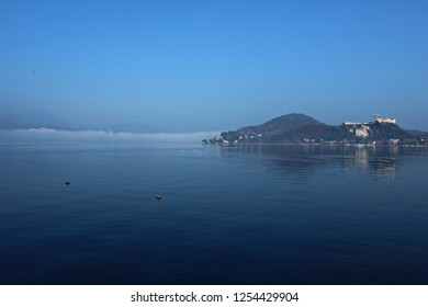 Italy, Piemonte: View of Angera fortress on Maggiore lake.
