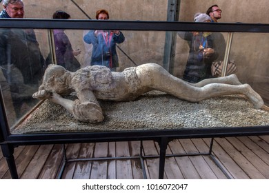 Italy, Pompeii, 02,01,2018 Pompeii reproduction of unearthed human figure that was buried in the ash