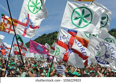Italy - Pontida  March1,2018 - lega nord flag's during  during a rally for the electoral campaign