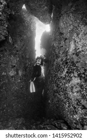 Italy, Ponza Island, Tyrrhenian sea, U.W. photo, cave diving, scuba diver (FILM SCAN)