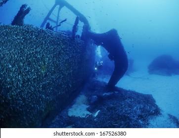 Italy, Ponza Island, Tyrrhenian sea, U.W. photo, wreck diving, sunken ship