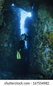 Italy, Ponza Island, Tyrrhenian sea, U.W. photo, cave diving, scuba diver