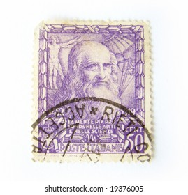 Italy postage stamp on white background