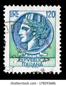 Italy postage stamp Turrita serie. 120 Lire
