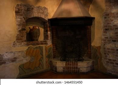 "ITALY, PROVINCE VERONA, VERONA - 02 Jly 2019: the interior of the Julia's house Verona (Casa di Giulietta Verona) medieval palace now the museum. The book, the Shakespeare story ""Romeo and Juliet"""