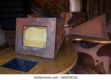 ITALY, PROVINCE VERONA, VERONA - 02 July 2019: the computer from which you can send a letter with love intentions to Julia, interior of the Julia's house Verona (Casa di Giulietta Verona) museum