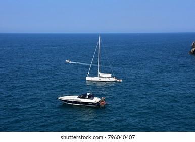 Italy, Puglia region, 18/08/2017, Polignano, boat tourists who visit the coast.