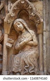 Italy, Puglia region, Altamura, 24 June 2018, Cathedral of Santa Maria Assunta, gate and sculptures of the main façade.