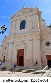 Italy, Puglia region, Locorotondo, 1 May 2018, a whitewashed village in the heart of the Itria valley, an external and internal view of the mother church of San Giorgio