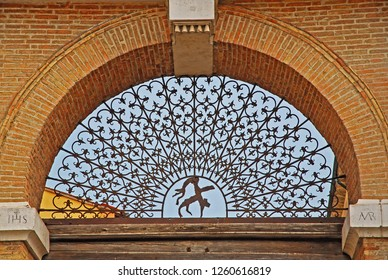Italy Ravenna, antique wrought iron gate in Sisi medieval city door built in 1885