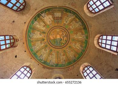 ITALY, RAVENNA - APRIL 29, 2017. Mosaics of the Arian Baptistery
