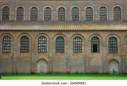Italy Ravenna,  Saint Apollinare in Classe Basilica architectonic side view.