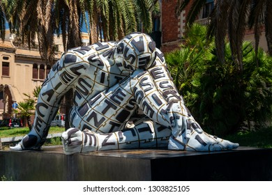 Italy, Reggio Calabria, July 2017: Villa Genoese-Zerbi and modern sculptures of artist Paola Epifani (Rabarama) in Reggio di Calabria in southern Italy