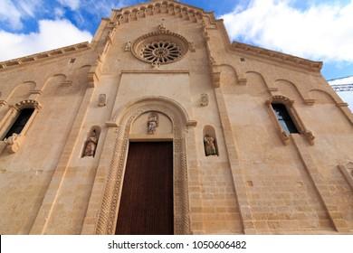 Italy, Region of Basilicata, Province of Matera, Matera. Duomo di Matera; Cattedrale di Santa Maria della Bruna e di Sant'Eustachio. Built in Apulian Romanesque style, 13th century.