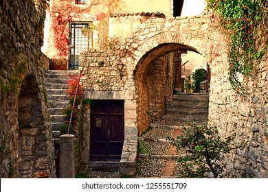 Italy, Rieti, Labro, December 2016 old alley in the medieval village of Labro in the Italian region of Lazio