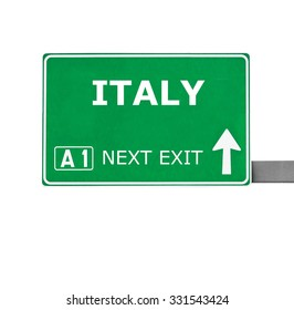 ITALY road sign isolated on white