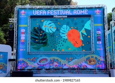 ITALY ROME 12-06-2021 Inauguration of the Uefa Festival, the set of initiatives related to Euro 2020 that will take place in Rome. Piazza del Popolo fulcrum of the Fan Zone