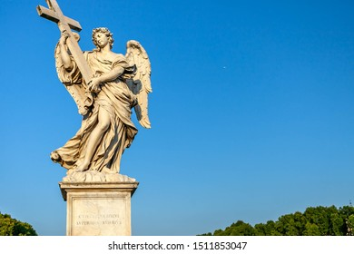 Italy, Rome, August 6, 2011: Statue of an angel on the Bridge of the Holy Angel (Eliev) in Rome, Italy.