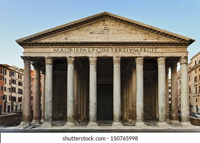 Italy Rome capital city ancient pantheon of gods temple famous roman classic facade current christian church at sunrise