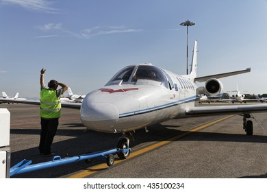 Italy, Rome, Ciampino Airport; 26 July 2010, small executive jet on the runway - EDITORIAL
