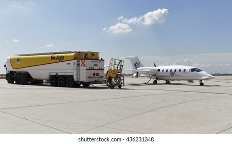 Italy, Rome, Ciampino Airport; 26 July 2010, small executive jet being refilled with gasoline - EDITORIAL
