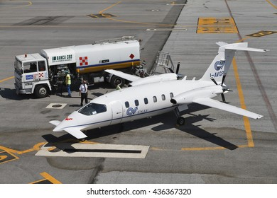 Italy, Rome, Cuneo Airport; 26 July 2010, small executive jet on the runway - EDITORIAL