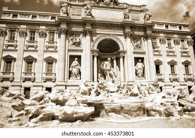 Italy. Rome. The famous Trevi Fountain built in the XVIII century.