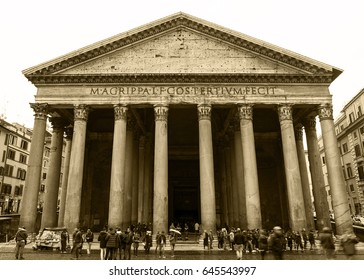 ITALY, ROME - JANUARY 23, 2017: Pantheon in a rainy day. Pantheon is a former Roman temple, now a church in Rome.