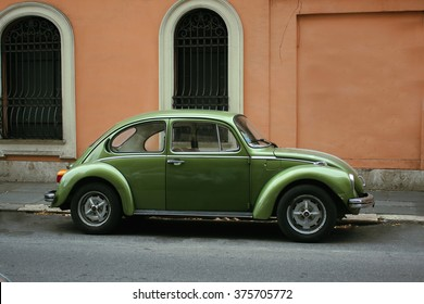 Italy, Rome January 31, 2016: A green Volkswagen Beetle