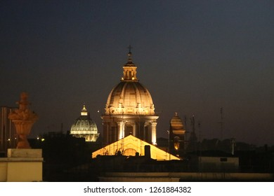 Italy, Rome - July 12, 2017: View on Basilica of SS. Ambrose and Charles on the Corso. 17th-century house of workshop including a dome, apse & rich interiors by Pietro da Cortona.