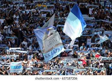 Italy, Rome, May 7th 2017: Lazio fans color the curve before the start of  the football  match Seria A Italian between S.S. Lazio vs U.c. Sampdoria  in Olimpic Stadium in Rome on 7 May 2017.