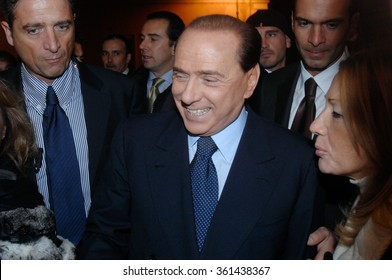 ITALY, ROME - NOVEMBER 19, 2007 - Italian former premier Silvio Berlusconi shakes hands at the end of a press conference for the launching of the new political party 'People of Freedom'.