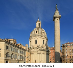 Italy - Rome. Old cityscape at Trajan Forum.
