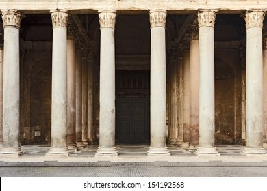 italy rome pantheon ancient historic landmark temple of roman empire civilisation portic entrance colonnade with bronze doors