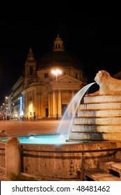 Italy. Rome, Piazza del Popolo, Fontana (fountain) dell' Obelisco at night