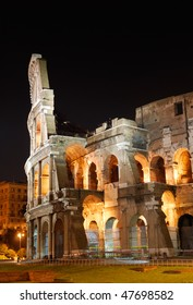 Italy. Rome ( Roma ). Colosseo (Coliseum). Night view. Fragment