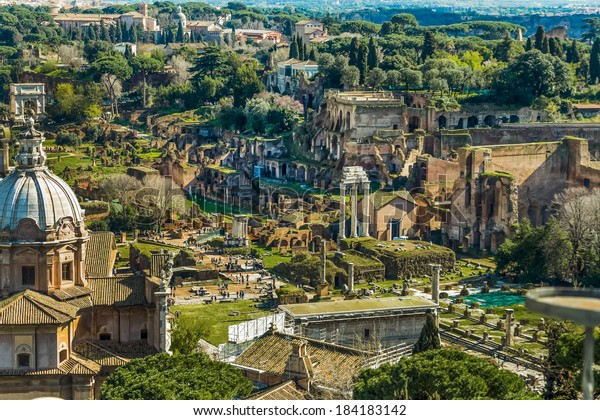 italy, rome. roman forum from the monument to vittorio emanuele ii of view
