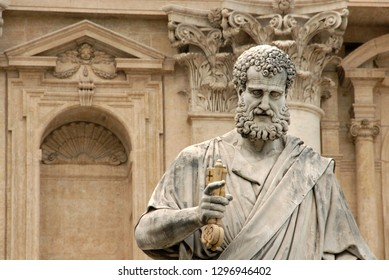 Italy / Rome – September 22, 2015: The statue of Saint Peter in the Vatican created by Giuseppe De Fabris, a pupil of Canova on the baroque background of the Basilica.