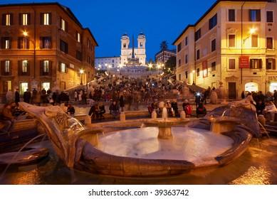 Italy. Rome, Square Piazza di Spagna, Fountain Fontana della Barcaccia