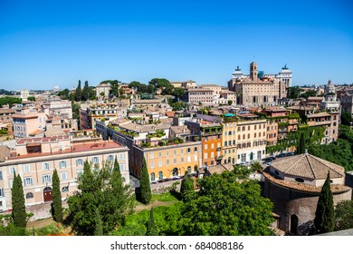 Italy, Rome. Vatican Gardens. Panorama of Rome. travel to Italy - above view of ancient center of Rome city